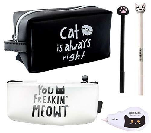 猫づくし文具5点セット 大容量猫ペンケース ポーチ シリコン素材で防水効果 ボールペン 修正テープ 化粧ポーチ (黒A)