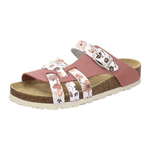 AFS-Schuhe 2122 Damen Pantoletten aus echtem Leder, hochwertige Hausschuhe für Frauen mit Eva-Sohle, Made in Germany (38 EU, rosato)