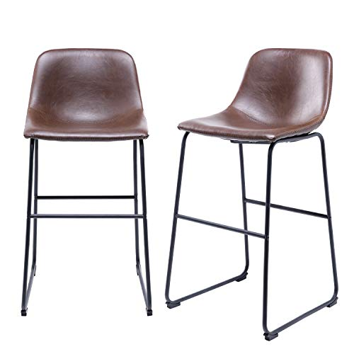 TAVR PU Leather Bar Stools with Back and Footrest Set of 2 Brown Modern Bar Stool Chair Height for Pub Coffee Home Dinning Kitchen