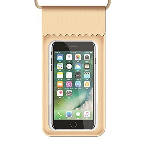 Resbalón del Teléfono a Prueba de Agua, Teléfono Móvil Bolsa Impermeable con Pantalla Táctil Equipo De Natación Tamaño Pequeño Adecuado para Teléfonos Móviles Menores De 5 Pulgadas (Color : Gold)