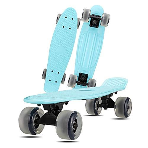 Xxlcznb Skateboard Complete Mini Cruiser Retro Monopatín, Adecuado para Adolescentes y niños, Plástico Cuatro Ruedas Cruiser Scooter Road Single Tilt Skateboard