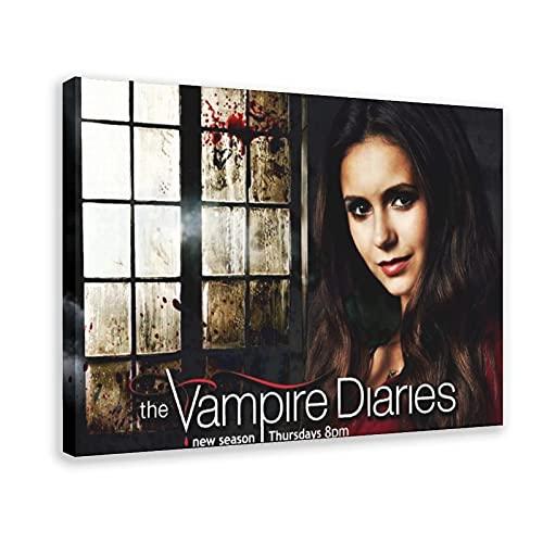 The Vampire Diaries Nina Dobrev 5 Leinwand-Poster, Schlafzimmer, Dekoration, Sport, Landschaft, Büro, Raumdekoration, Geschenk, 60 x 90 cm, Rahmen style1