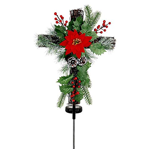 XIANLIAN LED Solar Light Christmas Tree Lights, Warm White Solar LED Lamp, Center Poinsettia Accented With Pine Cones, Holly Leaves& Red, Unrequire Solar Stake Lights Wiring Berries(29x13in)