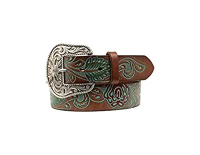 "Ariat Women's Embossed Roses Belt Tan SM (30"" Waist)"