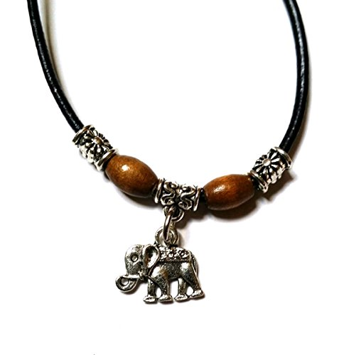 Black Leather Look Waxed Cotton Adjustable Sliding Knot Anklet/Bracelet - Surfer, Hippi, Boho, (Indian Elephant)