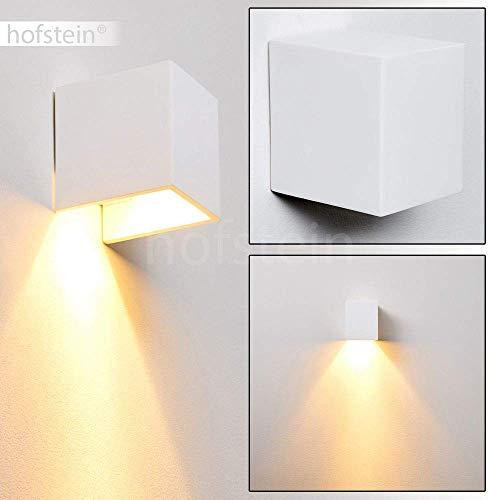 Wandlamp Piceno van keramiek in wit, wandlamp met grote lichtkegel, 1 x GU10 - stopcontact, max. 50 Watt, interieur wandlamp kan worden beschilderd met standaard kleuren, geschikt voor LED-verlichting