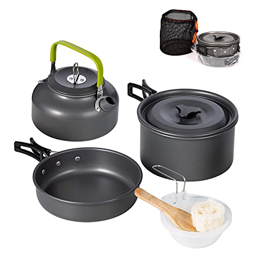 swiftrans Aluminum Outdoor Camping Cookware Set, Folding Cookset Camping Teapot and Pans Set Equipment,Lightweight Pots, Pans with Mesh Set Bag for Backpacking, Hiking, Picnic