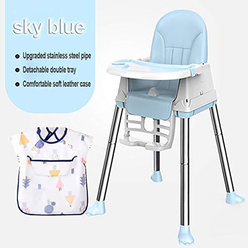 Bébé avec Chaise, Chaise de Salle à Manger, Chaise Haute bébé Pliable Pratique, Table à Manger spéciale pour Enfants, Assiette en matériau PP, Chaise bébé réglable-SkyBlue