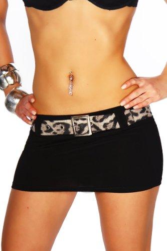 jowiha® Minirock sexy kurz Elasthan mit Gürtel zum abnehmen in 3 Größen 36 38 40 (L 40, Schwarz Leo)