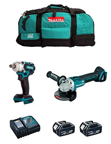 MAKITA Kit MK212 (Llave de Impacto DTW285 + Mini-Amoladora DGA504 + 2 Baterías de 5,0 Ah + Cargador + LXT600)