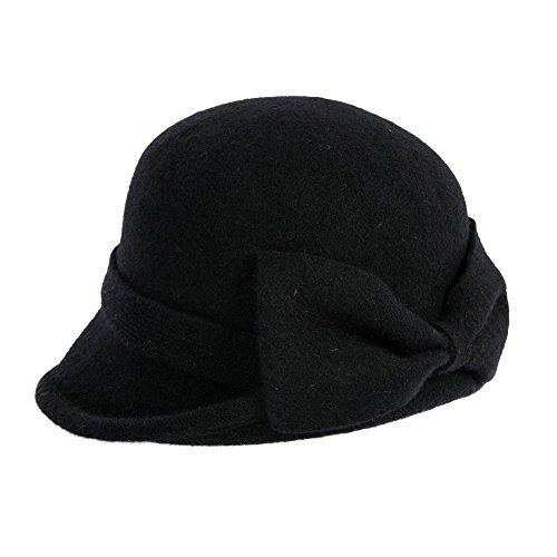 SIGGI 100% Wolle 1920s Retro Fedorahüte Kirche Hüte Frauen Filzhut Damen Klassisch Bowler Hut Schwarz
