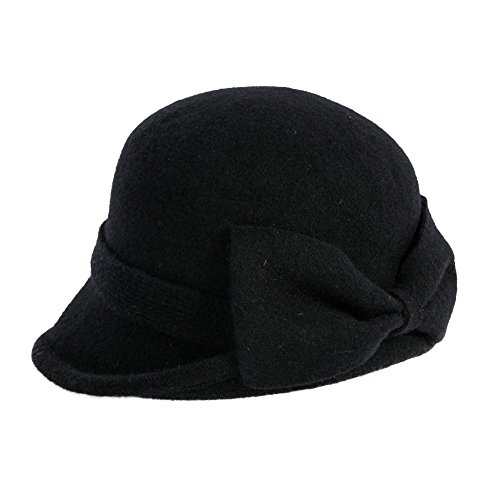 SIGGI Wolle 1920s Retro Fedorahüte Kirche Hüte Frauen Filzhut Klassisch Bowler Hut Schwarz