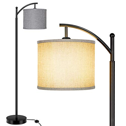 Floor Lamp for Living Room, Modern Standing Lamp with Grey Color Fabric Lampshade for Bedroom, Office, Hotel ,Study Room, Tall lamp with Foot Switch & Standard E26 Bulb Base