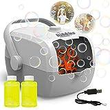 Sotodik Maquina Burbujas Niños portátil para Hacer Burbujas para niños pequeños, Uso en Actividades al Aire Libre en Interiores, con 2 Botellas de solución de Burbujas y batería Recargable