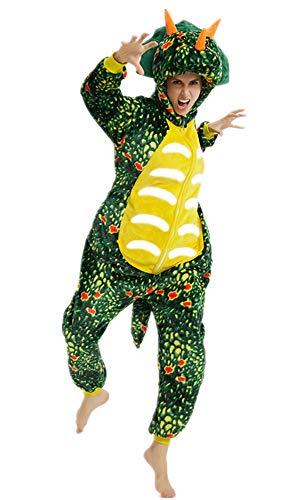 ABYED® Dinosaurier Kostüm Jumpsuit Onesie Tiere Fasching Karneval Halloween Faschingskostueme Erwachsene Cosplay Schlafanzug Maedchen Herren Kinder