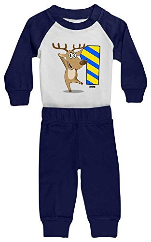 HARIZ HARIZ Baby Pyjama Lustiges Rentier 1 Geburtstag Kinder Baby Inkl. Geschenk Karte Weiß/Navy Blau 12-18 Monate