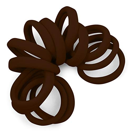 Cyndibands Soft and Stretchy Gentle Hold Seamless 1.5 Inch Elastic Nylon Fabric No-Metal Ponytail Holders - 12 Hair Ties (Medium Brown)