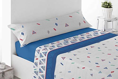 Juego de sábanas Estampadas de Microfibra Transpirable Mod. Talpe (Disponible en Varios tamaños y Colores) (Azul, Cama de 150 cm (150_x_190/200 cm))