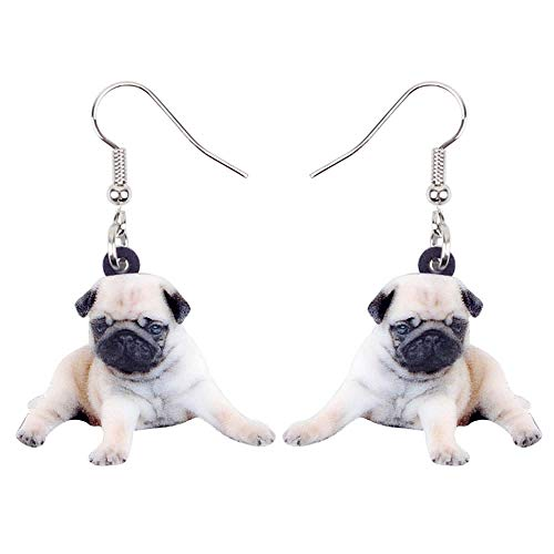 N\A Statement Acrylic Sweet French Bulldog Pug Dog Earring Pendant Large Animal Jewelry for Women's Girls-Multicolor