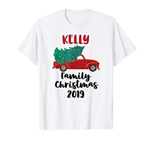 Red Christmas Truck Tree 2019 Kelly Family Matching T-Shirt