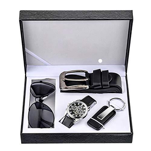 Souarts Herren Geschenkset mit Armbanduhr Männer Geldbörse Gürtel Sonnenbrillen Auto Schlüsselanhänger Geschenk Set für Herren (Black)