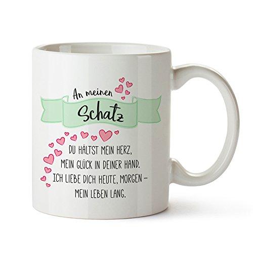 Tassenwerk – Romantische Tasse mit Liebesgedicht – Aufdruck: An Meinen Schatz – Geschenk zum Geburtstag und Valentinstag für Frauen und Männer – Geschenkidee für Paare