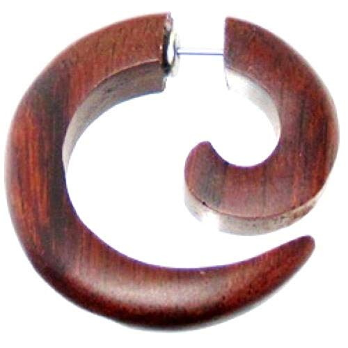 Chic-Net - Tribal Ohrring aus Sono Holz, kleine Spirale, braun, Edelstahlbügel, Fake Piercing