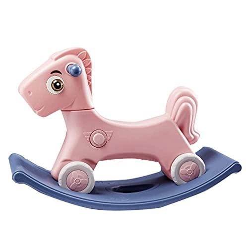 Caballo de balanceo bebé, carro deslizante para niños lindos con música/paseo de doble propósito en el carro de empuje para el regalo de cumpleaños del niño pequeño, verde WDH666 (Color : Pink