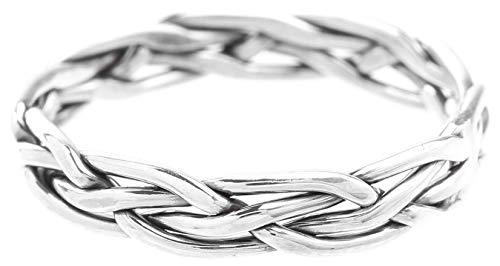 WINDALF Schmaler Mittelalter Ring SKALA 0.3 cm Damenring mit Zopfmuster Handarbeit 925 Sterlingsilber (Silber, 58 (18.5))