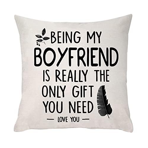 Ameesi - Federa per cuscino con scritta 'Fidanzato', idea regalo per fidanzato, coppia, fidanzato, compleanno, Natale, San Valentino