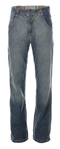 MOGUL Herren Jeans Hose Straigt Leg Used-Wash Blue W33 L34