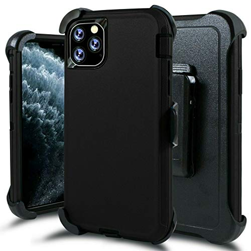 LTifree Defender Case for iPhone 11 Pro Max case with Belt Clip,Full Body Rugged Heavy Duty Case,Kickstand,Holster-Black 6.5 Inch