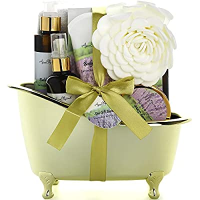 Spa Gift Baskets For Women - Luxury Bath Spa Kit Includes Body Wash, Bubble Bath, Lotion, Bath Salts, Body Scrub, Body Spray, Shower Puff, and Towel