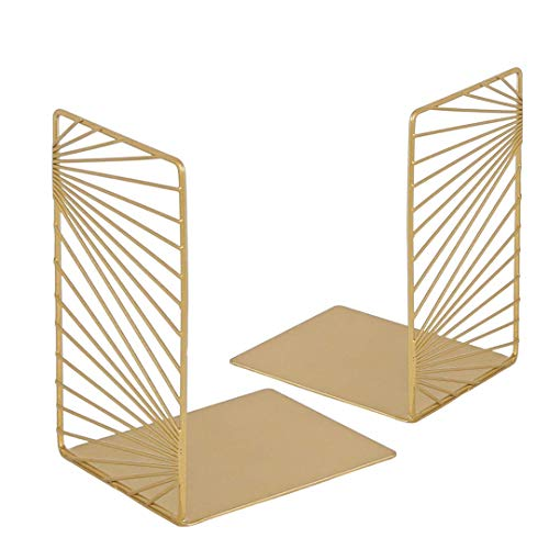 Gold Bookends - Pair of Decorative Bookends / Modern Book Ends / Bookshelf Dividers / Book Stoppers,...