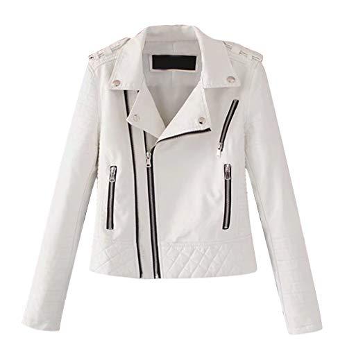 Damen Kurz Jacke Lederjacke,Luotuo Casual Lange Ärmel Slim Damenjacke Bikerjacke Frauen Retro Rivet Reißverschluss Oben Cool Streetwear Mantel Outwear
