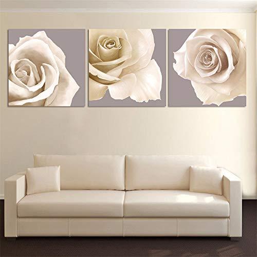 WSNDG Triple inkjet rose bloemen huisdecoratie schilderij zonder fotolijst 20x20cmx3 G1