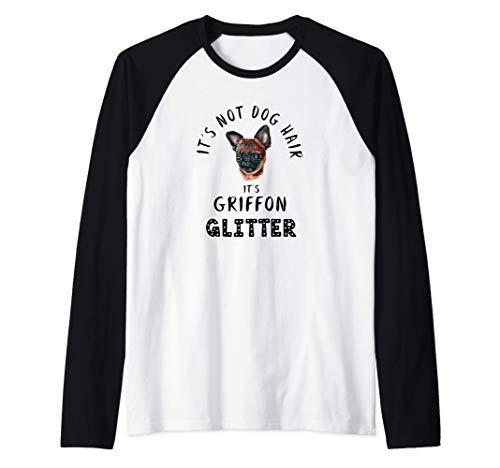 It's Not Dog Hair It's GRIFFON Glitter Perro Abeto Camiseta Manga Raglan