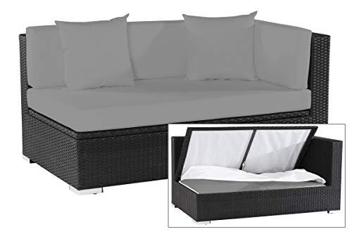OUTFLEXX 2-Sitzer Ecksofa aus hochwertigem Polyrattan in schwarz mit Kissenboxfunktion für 2 Personen, inkl. Kissen, Armlehne Links, 145x85x70 cm, wetterfest, perfekt für den Outdoorbereich geeignet