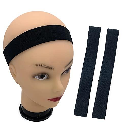 2 Pack Edge Slayer Band Elastic Wig Edge Melt Band, Adjustable Edge Slayer Headband for Melting Lace, Edge Grip Band Wrap Scarf for Laying Edges (22''L x 1.2''W, Black)