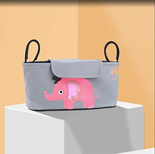 Kinderwagen Organizer Taschen Wasserdichte Wagenhaken Hängende Windel Große Aufbewahrungstasche Cartoon Tier Elefant Kinderwagen Zubehör14
