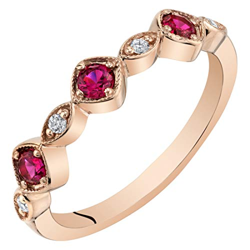 Peora Created Ruby Stackable Ring in Rose Tone Sterling Silver, Marquise and Round Band for Women, 2mm Size 8