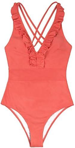 CUPSHE Women s V Neck One Piece Swimsuit Ruffled Back Cross Swimwear XL Orange product image