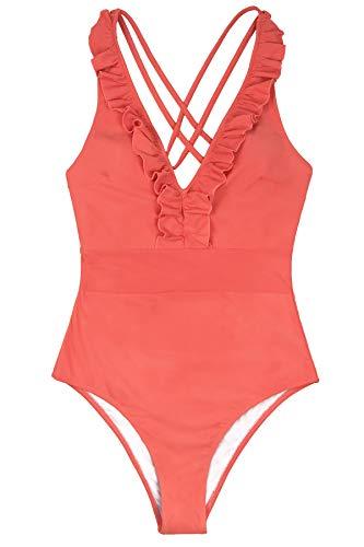 CUPSHE Women's V Neck One Piece Swimsuit Ruffled Back Cross Swimwear, M Orange