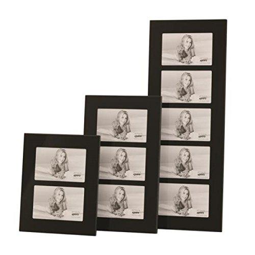 Kenro Modern Black Glass Twin Photo Frame 8x6 Inch 15x20cm Landscape Or Portrait For 2