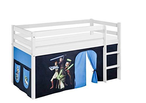 Lilokids Lit de jeu JELLE 90 x 190 cm Star Wars The Clone Wars - Certifié TÜV & GS - Blanc - Lit mezzanine avec rideau et sommier à lattes