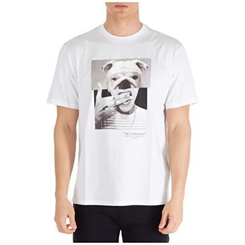 Neil Barrett Hombre Camiseta Bulldog-Man White+Multicolor