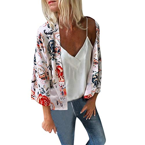Andouy Kimono Stil Gedruckt Sonnencreme Shirt Jacke Cardigan Boho Beachwear Badeanzug Cover-Up Strickjacke Oberteile(S(40).Weiß-kurz)