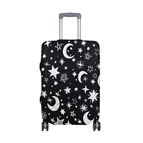 ALINLO Black White Moon Stars Design Luggage Cover Baggage Suitcase Travel Protector Fit for 18-32 Inch