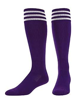 TCK Elite Finale 3 Stripe Soccer Socks  Purple/White Medium