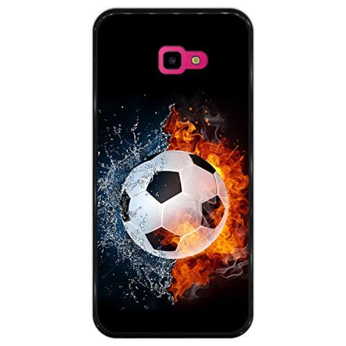 Hapdey Funda Negra para [ Samsung Galaxy J4 Plus 2018 ] diseño [ Fuego y Agua, balón de Futbol ] Carcasa Silicona Flexible TPU